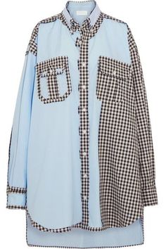 Maison Margiela - Oversized Patchwork Cotton-poplin Shirt - Blue