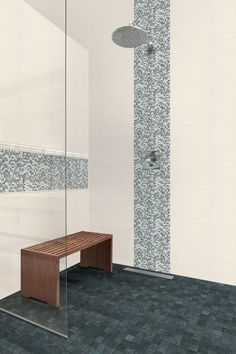 The Streamline series from Florida Tile can effectively replace indecision with satisfaction, courtesy of the latest in tile coloration, stylistic elements and trim. Kitchen Tiles, Kitchen And Bath, White Master Bathroom, Dream Shower, Ceramic Wall Tiles, Stone Tiles, Florida, Shower Designs, Glass