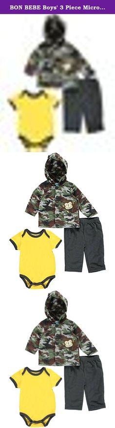 BON BEBE Boys' 3 Piece Microfleece Jacket Set with Bodysuit and Pant, Camo Green, 6-9 Months. Long sleeve, hooded, button-front, micro fleece jacket with embroidered applique. 3 piece set also includes micro fleece elastic waist pant and super soft bodysuit with lap shoulder neck opening and 3-snap closure at inseam.