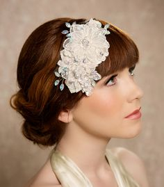 Silver Crystal Ivory Lace Bridal Headpiece, Lace Bridal Hair Accessories, Ivory Hair Piece, bridal fascinator - Ready to Ship - CHANTILLE by Gilded Shadows