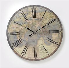Heaven Sends Vintage Atlas Wall Clock, Large