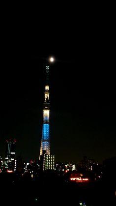 Sky Tree and the Moon at Oshiage, Tokyo.