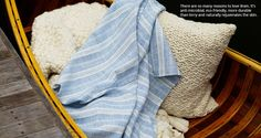 MONC XIII Large Striped Linen Towel, Cloud Blanket, Mary Pillow
