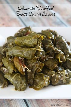 Lebanese Stuffed Swiss Chard Leaves...delicious and healthy Middle Eastern recipe, a family favorite that always disappears quickly!  adishofdailylife.com