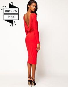 Enlarge ASOS Midi Body-Conscious Dress With Drape V Back