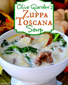 Copycat Olive Garden Zuppa Toscana Soup Recipe.Tastes exactly like the original! 1 lb Italian Sausage (spicy if you prefer more heat)  5-7 slices of bacon  5 medium russet potatoes  2 c kale, chopped  1 c heavy whipping cream  1 qt water  2 cans of chicken broth  1/2 large onion  2-3 cloves of garlic, minced  2 tsp red pepper flakes  Salt and pepper Love this soup!