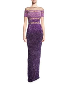 Signature Sequined Short-Sleeve Gown, Purple