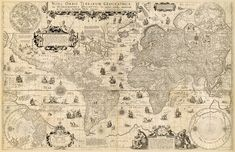 Wonderful map of the World from the beginning of XVII century All World Map, Celestial Map, Orbis, Old Maps, Sea Monsters, Historical Maps, Pigment Ink, Vintage World Maps, Restoration