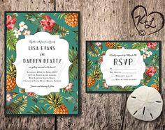 PRINTABLE Retro Hawaiian Wedding Invitation Hawaii Miami Tommy Bahama inspired tropical hibiscus pineapple digital beach theme destination