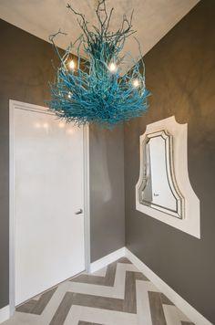 Contour Interior Design Macarons by Patisse bakery teal chandelier chevron flooring mirror