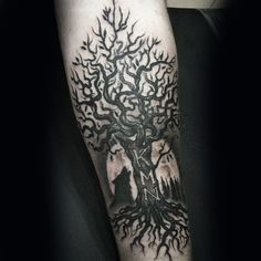 Carved Intitals In Tree Mens Forearm Tattoos