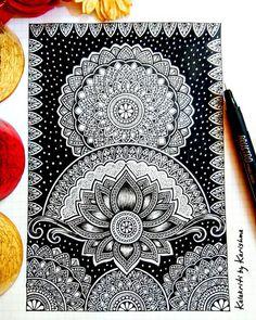 Cute Doodle Art, Doodle Art Drawing, Zentangle Drawings, Mandala Drawing, Zentangle Patterns, Zentangles, Mandala Art Lesson, Mandala Artwork, Mandala Painting