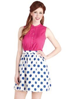 Bright on the Dot Skirt. As usual, you arrive on time to the backyard get-together, looking just as adorable as you always do. #white #modcloth