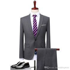 C/&H Mens Coat Blazer Slim Fit Formal Business Two Pieces Suit Sets