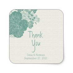Sage & White, Sketched Floral Thank You Stickers