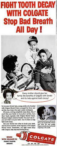 Colgate Dental Cream with Gardol Advertisement - Ebony Magazine, April, 1960 by vieilles_annonces, via Flickr