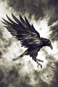 "Artwork ""Raven"" by Mateusz Slemp available on www.art - Artwork ""R. - Artwork ""Raven"" by Mateusz Slemp available on www.art – Artwork ""Raven"" by Ma - Crow Art, Raven Art, Bird Art, Corvo Tattoo, Tattoo Grafik, Raven Pictures, Rabe Tattoo, Symbole Viking, Buddha Tattoos"