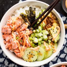 These Salmon Sushi Bowls have all the delicious flavors of your favorite salmon roll in a delicious bowl Topped with a spicy sriracha mayo and ginger soy dressing it is flavor explosion foxandbriar ad Sushi Recipes, Seafood Recipes, Asian Recipes, Dinner Recipes, Cooking Recipes, Healthy Recipes, Salmon Recipes, Vegetarian Recipes, Salmon Sushi
