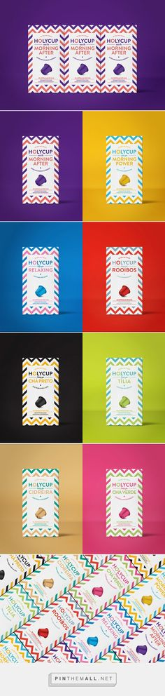 HolyCup / Brand of tea in capsules compatible with Nespresso machines / by Pedro Bivar Organic Packaging, Design Packaging, Coffee Packaging, Branding Design, Graphic Art, Graphic Design, Print Layout, Package Design, Brand Identity