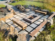Custom firepit and offset travertine patio creates a defined space for the evening. Outdoor Fire, Outdoor Living, Outdoor Decor, Precast Concrete, Travertine, Fire Pits, Fireplaces, Living Spaces, Landscaping