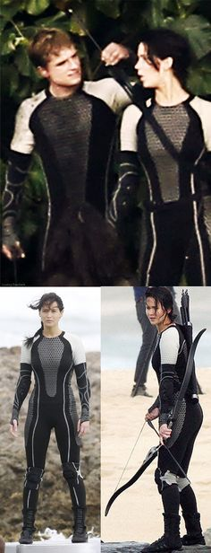 Uniformes - Josh Hutcherson and Jennifer Lawrence as Peeta and Katniss in their game uniforms. 'The Hunger Games: Catching Fire' Costume Designer: Trish Summerville Divergent Outfits, Hunger Games Outfits, Hunger Games Pin, Hunger Games Catching Fire, Divergent Clothes, Josh And Jennifer, Jennifer Laurence, Movie Costumes, Cool Costumes