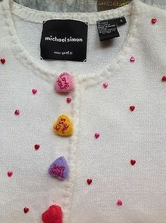 MICHAEL SIMON VALENTINE SWEATER EMBELLISHED SIZE SMALL VINTAGE HEARTS $49
