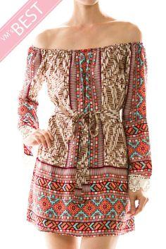 Crochet Sleeve Trim Off Shoulder Dress