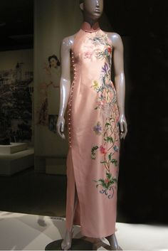 Guo Pei silk cheongsam floral embroidery on pink ground