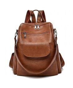 11043aa764 designer backpack waterproof shoulder BrownU - Brown PU  - C318E9Z3OU5.  Designer BackpacksShopping TotesBackpack PursePu LeatherSatchelsLeather ...
