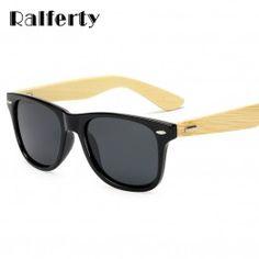 edbe3d65904 Ralferty Real Bamboo Sunglasses Men Polarized Women Black Sunglass Male  UV400 Sun Glasses Driver Goggles Wooden Eyewear Shades
