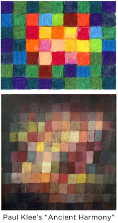 """Color studies don't have to be boring. They can be done in the manner of Paul Klee's """"Ancient History"""" painting, and resemble a modern masterpiece when complete. PDF grid template included. #artprojectsforkids #klee #colorstudy"""