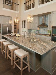 Marmor Arbeitsplatte grau rustikale küche