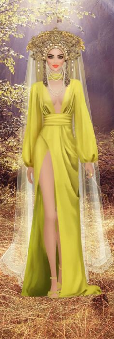 Chase The Sun by Kotti - Cleopatra Dress, Online Modeling, 30s Fashion, Covet Fashion Games, Cover Model, Character Costumes, Yellow Dress, Fashion Sketches, Costume Design