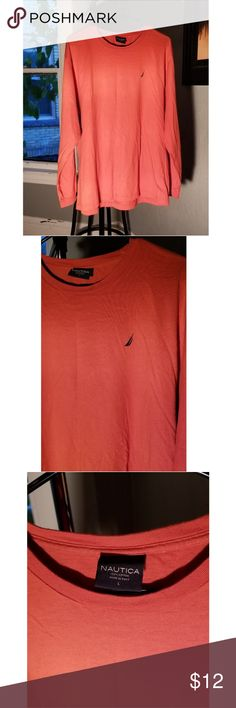 Nautica Orange Long Sleeve Shirt. Great Conditon! This Nautica Long Sleeve Shirt is in great condition. It is super soft and vibrant. A great piece for any wardrobe. Size L Nautica Shirts Tees - Long Sleeve