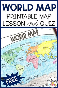 Free printable and digital world map activity worksheet and quiz. Black outline map included for students to locate and label the continents and oceans. World History Map, World Geography Map, World History Lessons, History Education, Teaching History, Geography Activities, Geography Lessons, Teaching Geography, Continents Activities
