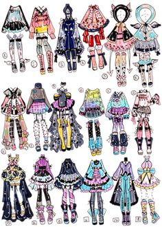 CLOSED- Precious Predator outfits by Guppie-Vibes on DeviantArt Drawing Anime Clothes, Manga Clothes, Dress Drawing, Manga Drawing, Fashion Design Drawings, Fashion Sketches, Clothing Sketches, Art Drawings Sketches, Cute Drawings