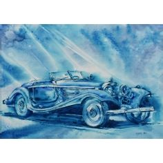 Oksana LUKOMSKA Large Painting, Fabric Painting, Free Pictures, Art For Sale, Retro, Illustration, Artist, Mercedes Benz, Delivery