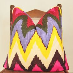 Pillow Cover, Decorative Pillow, Throw Pillow, Designer Pillow, Toss Pillow, Martyn Lawrence Bullard, Adras Ikat, Jewel, Piping, 18x18 inch