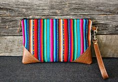 Multi Color Stripes /  Wristlet / Clutch / Navajo by SweetPeaTotes, $32.00