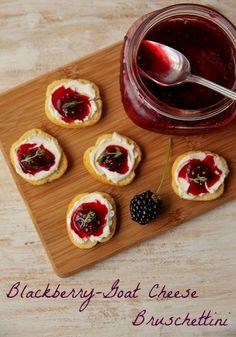 Blackberry-Goat Cheese Bruschettini using Honey and Thyme Blackberry Jam | The Daily Dish