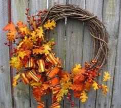 Door Wreath, Front Door Wreath, Fall Leaves Wreath,Fall Wreath ,Acorn Wreath, Wreath with Bow, Wreath ,Harvest on Etsy, $60.00