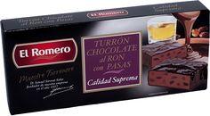 Turron de Chocolate Ron con Pasas EL ROMERO Calidad Suprema 200 g x 16 unidades