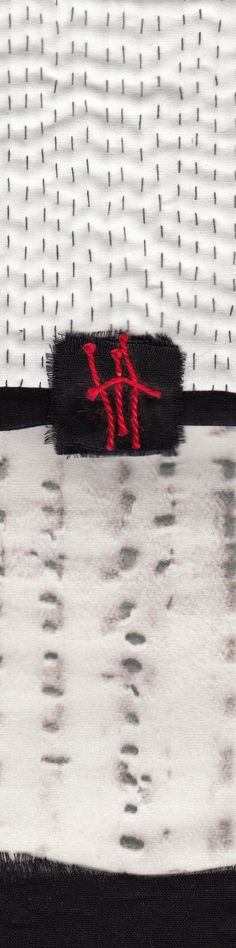 Ann Symes: red lines 3, textile