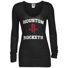 Women s Houston Rockets 5th   Ocean by New Era Black Glitter Logo Tri-Blend  Long Sleeve T-Shirt 3bf087cd6