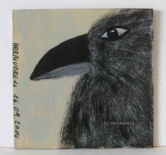 RABE von Herbivore11 kleine Kunst Minibild Raben Rabe Crow Legekarte Bild