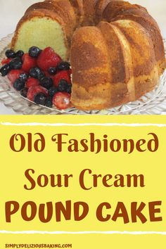 It's pure pound cake with 6 eggs, sour cream and 1 cup butter. Has that rich pound flavor and is great with or without a glaze. Prep time is 15 to 20 minutes. Pound Cake Recipe Using Cake Flour, Moist Sour Cream Pound Cake Recipe, Homemade Pound Cake, Easy Pound Cake, Sour Cream Cake, Pound Cake Recipes, Easy Cake Recipes, Pound Cakes, Easy Homemade Recipes