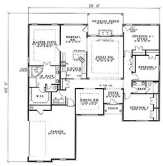 First Floor Plan of Traditional   House Plan 61194