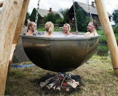 Outdoor bath...Ok,so part of me thinks this might really be kinda cool. The other part makes me wonder about my being the guest of honor at dinner!