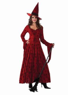 Our Crimson Witch Costume is a twist on the classic witch costume. Made from gorgeous crimson spider web patterned fabric, you'll stand out from the crowd of Halloween witches in this outfit. Costume Halloween, Witch Costume Adult, Wicked Witch Costume, Witch Costumes, Fete Halloween, Adult Costumes, Costumes For Women, Halloween Witches, Halloween Ideas