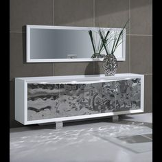 Luxury Modern Sideboard Cabinet White And Stainless Steel Doors Leds Quatropi
